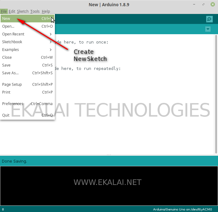 Create new sketch in Arduino IDE