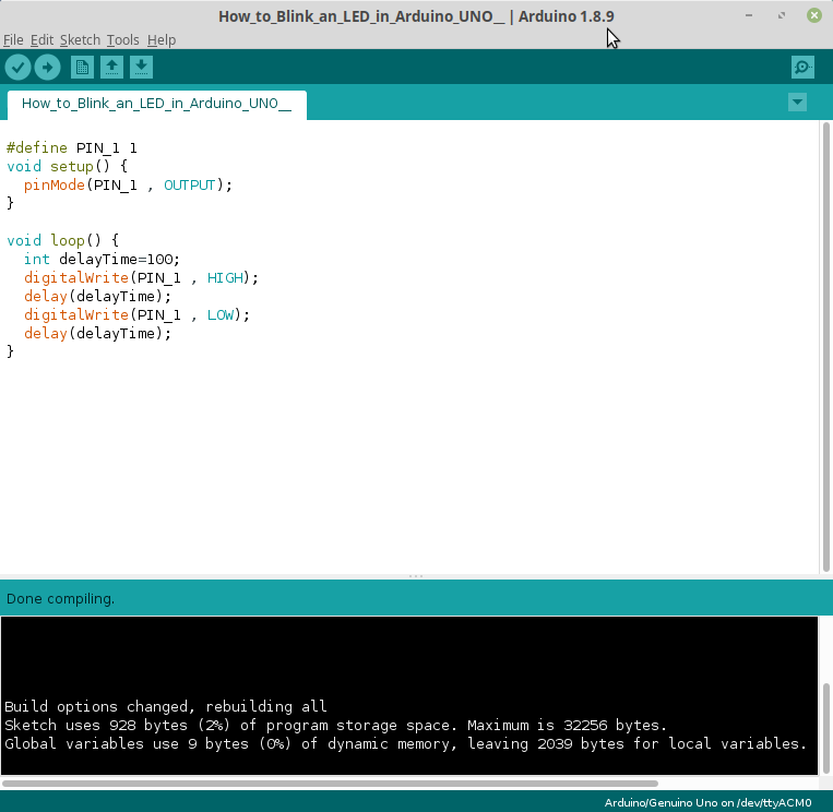 LED blink CPlusPlus code appearance in Arduino IDE