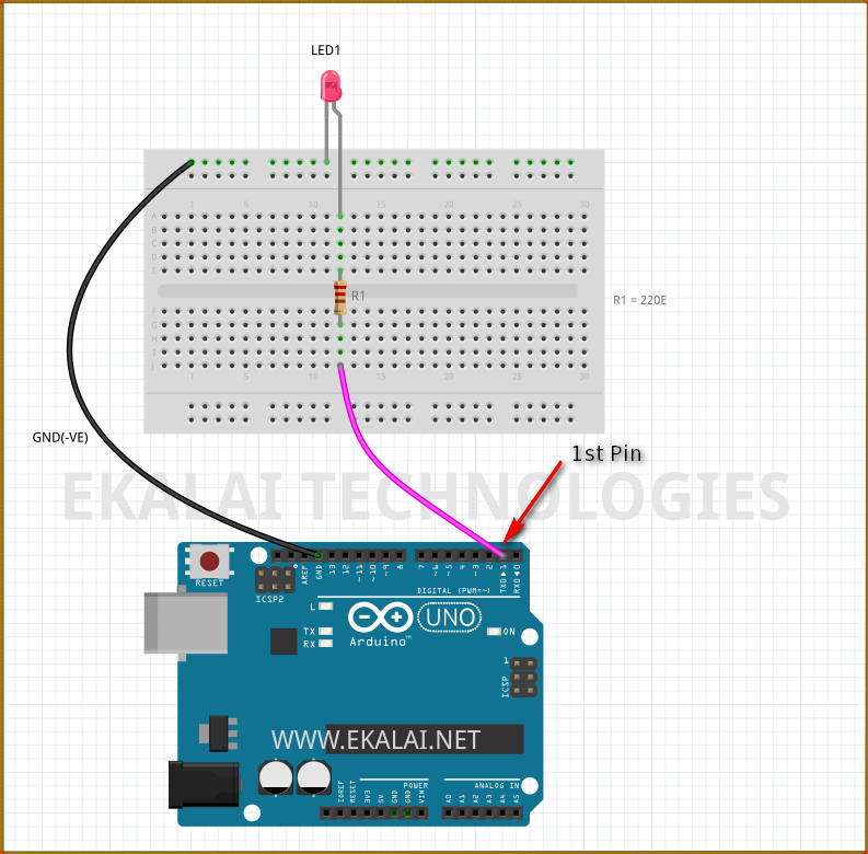 Resistor is connected to pin1 via wire  in Arduino UNO